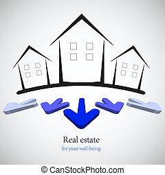 begriff, real estate, für, dein, business., vektor, illustration., am besten, wahlmöglichkeit
