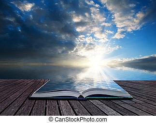 begriff, reflektiert, kreativ, betäuben, buch, sonnenuntergang ozean, seiten, landschaftsbild
