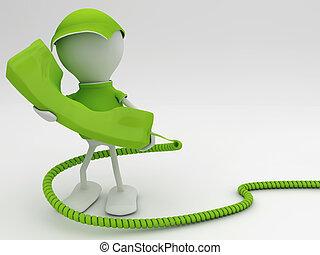 begriff, render, telecom, aufenthalt, connected., green., 3d