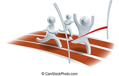 begriff, rennen, gewinnen