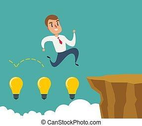begriff, risiko, geschaeftswelt, aus, gap., springende , mann, felsformation, success.
