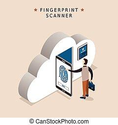 begriff, scanner, fingerabdruck