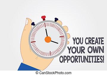 begriff, schöpfer, chances, text, eigen, analyse, dein, schicksal, schaffen, schreibende, start, besitz, opportunities., sie, sein, sekundenzähler, stoppuhr, hand, bedeutung, hu, button., zeitgeber, mechanisch, handschrift