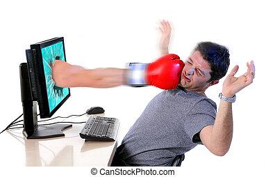 begriff, schlag, medien, boxhandschuh, mobbing, edv, cyber, sozial, mobbing, mann