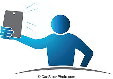 begriff, selbst, selfie., eins, arm, länge, vektor, design, ...
