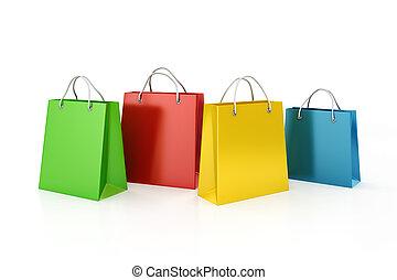 begriff, shoppen, verkauf, säcke, 3d