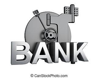 begriff, sicher, gewölbe, closed., sicherheit, bank