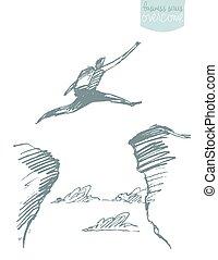 begriff, silhouette, aus, springende , lücke, vektor, mann