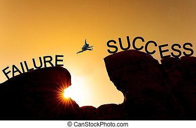 begriff, silhouette, erfolg, aus, success.business, abgrund, ausfall, springende , führung, herausforderung, leistung, mann
