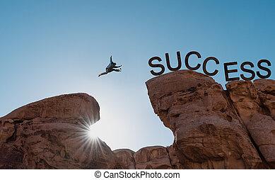 begriff, silhouette, erfolg, aus, success.business, abgrund, springende , führung, herausforderung, leistung, mann