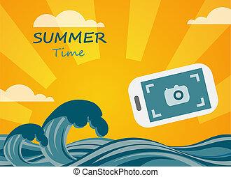 begriff, sommer, smartphone, bild, machen, tropische , hintergrund, ansicht.
