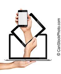 begriff, tablette, laptop pc, smartphone, hände