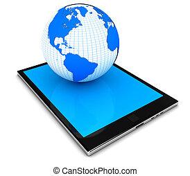 begriff, tablette, modern, planet, pc, erde, elektronik