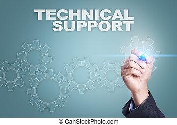 begriff, technische unterstützung, screen., virtuell, geschäftsmann, zeichnung