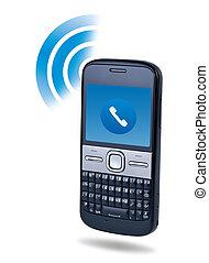 begriff, telefon, zelle, hintergrund., anschluss, weißes, technologie