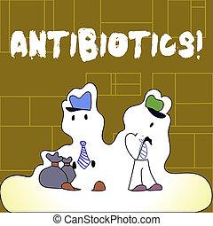 begriff, text, infections., droge, bedeutung, gebraucht, behandlung, antibiotics., handschrift, bakteriell, prävention