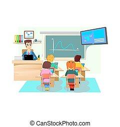 Tisch schule clipart  Clipart von kinder, tisch, freigestellt - junge, wenig, essende ...