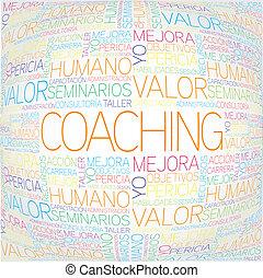 begriff, trainieren, verwandt, spanischer