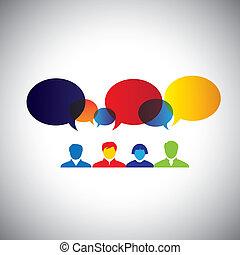 begriff, vecto, brainstorming, schöpfung, -, idee, versammlung, freundschaft