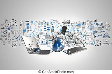 begriff, vernetzung, geschaeftswelt, medien, hand, welt, gezeichnet, strategie, 3d