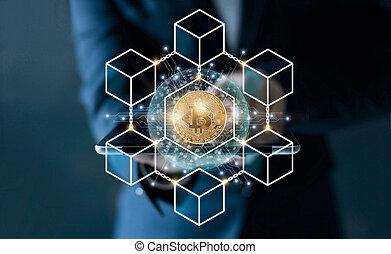 begriff, vernetzung, geschaeftswelt, tablet., global, blockchain, bitcoin, virtuell, screen., cryptocurrency, mikroschaltung, anschluss, berühren, geschäftsmann, technologie, ikone