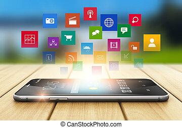 begriff, vernetzung, medien, smartphone, sozial, technologie