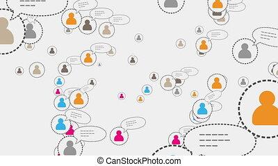 begriff, vernetzung, medien, sozial, skype, schleife