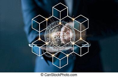 begriff, vernetzung, tablette, global, blockchain, screen., virtuell, geschaeftswelt, mikroschaltung, anschluss, berühren, geschäftsmann, technologie, ikone