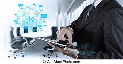 begriff, vernetzung, tablette, internet, geschäftsmann, edv, sozial, gebrauchend, shows