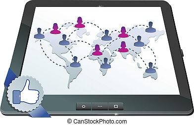 begriff, vernetzung, tablette, schirm, -, pc, facebook,...