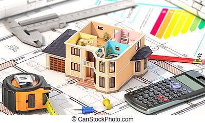 begriff, von, design., wohnhaeuser, haus, haben, ansicht, wohin, buechse, sehen, möbliert, zimmer, mit, werkzeuge, auf, architekt, blueprints., gehäuse, project., 3d, abbildung
