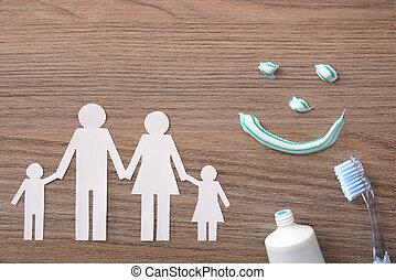 begriff, von, familie, dentale versicherung, mit, vertreter, elemente, auf, holz