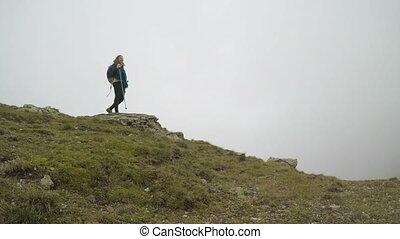 begriff, von, freiheit, und, glück, mit, bergsteiger,...