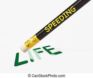 begriff, von, geschwindigkeitsüberschreitung, erases, leben