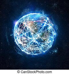 begriff, von, global, internetverbindung, vernetzung, ., welt, vorausgesetzt, per, nasa