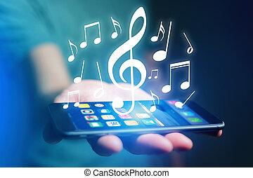 begriff, von, listenning, musik, auf, a, vorrichtung, -,...