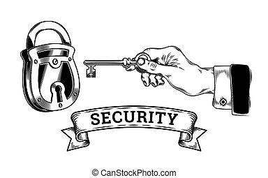 begriff, von, sicherheit, -, hand, mit, schlüssel, öffnet, schließt, der, schloß