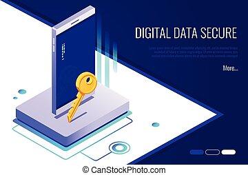 begriff, von, sicherheit, network., persönlich, zugang, und, schützen, phone.digital, daten, sicher, banner
