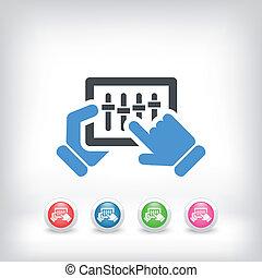 begriff, von, touchscreen, mixer, ikone