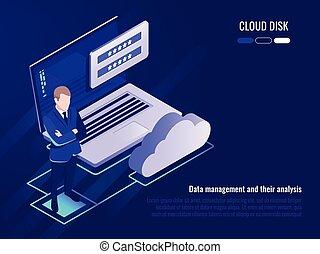 begriff, von, wolke, scheibe, und, daten, zugang, geschäftsmann, aufenthalt, hintergrund, von, laptop, mit, login, form, und, wolke, ikone