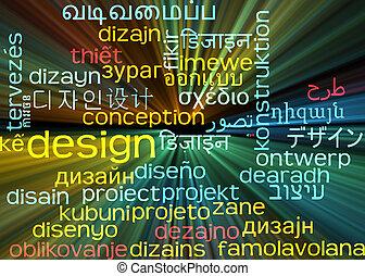 begriff, wordcloud, glühen, design, hintergrund, multilanguage