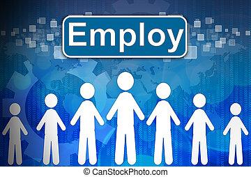 begriff, wort, beschäftigen, human resources