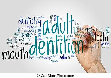 begriff, wort, grau, erwachsener, hintergrund, wolke, dentition