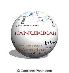 begriff, wort, hanukkah, kugelförmig, wolke, 3d