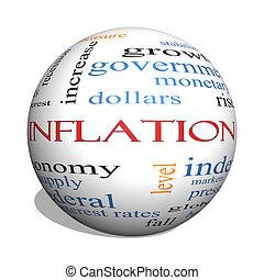 begriff, wort, kugelförmig, inflation, wolke, 3d