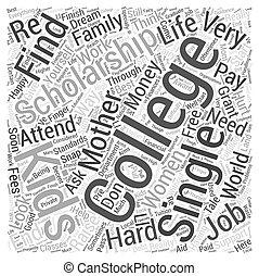 begriff, wort, ledig, hochschule, mutter, wolke, stipendium