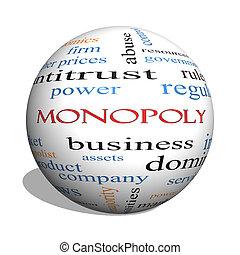 begriff, wort, monopol, kugelförmig, wolke, 3d