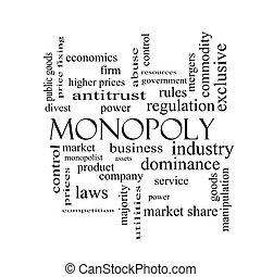 begriff, wort, monopol, schwarz, weiße wolke