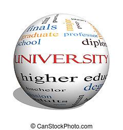 begriff, wort, universität, kugelförmig, wolke, 3d