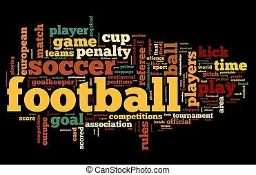 begriff, wort, wolke, fußball, etikett